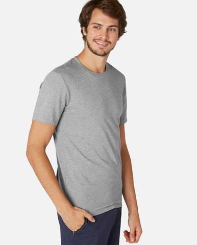 NYAMBA Pánske Tričko 500 Slim Sivé