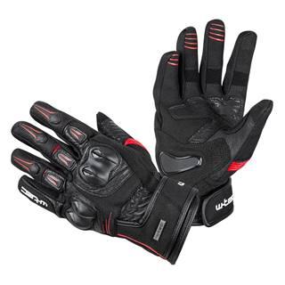 Kožené moto rukavice W-TEC Legend čierno-červená - S