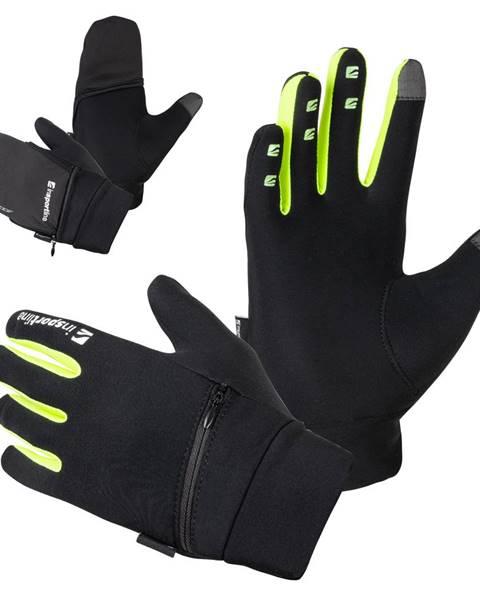 Insportline Bežecké rukavice inSPORTline Tibidabo čierna-fluo - S