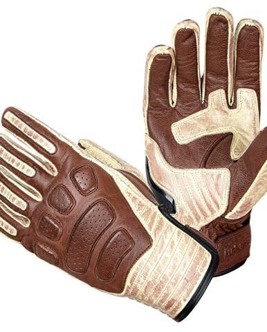 Kožené moto rukavice W-TEC Retro Gloves hnedo-béžová - S