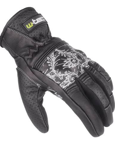 Dámske kožené moto rukavice W-TEC Polcique NF-4206 čierno-biela - XS