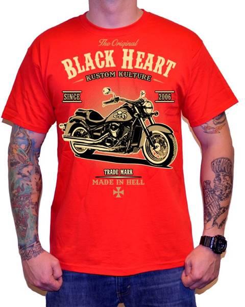 BLACKHEART Tričko BLACK HEART Harley Red červená - M