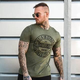 GymBeam Tričko Walk In Strong Military Green  S