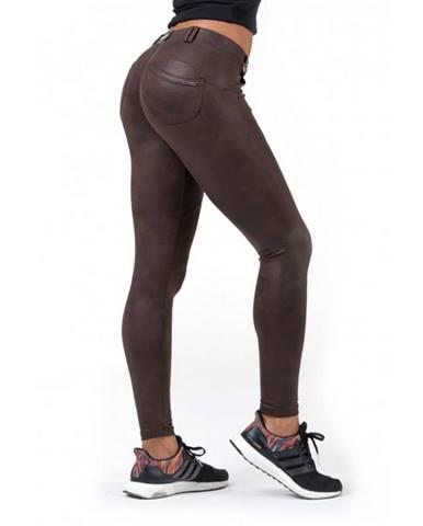 Dámské legíny Nebbia Leather Look Bubble Butt 538 Brown - S
