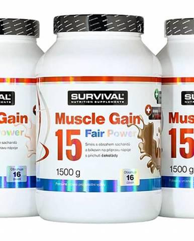 Survival Muscle Gain 15 Fair Power 1500 g 1500g Čokoláda
